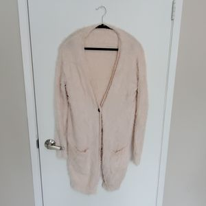 Tops - Pink fuzzy long cardigan